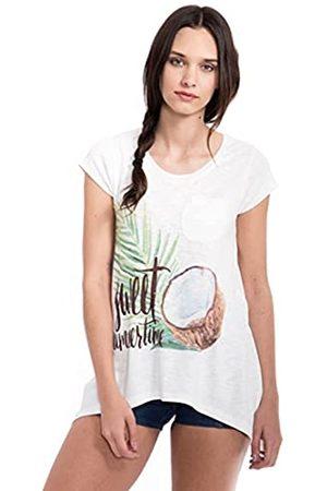 Way Of Glory Damen Shirt In Strickoptik Mit Kokosnuss Print&Pailletten Rundhals Kurzarm Casualmode Zipfelshirt Print A Linie Bedruckt