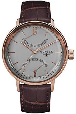 ELYSEE Herren Uhren - Sithon Herrenuhr in verschiedenen Farbkombinationen mit Leder- oder Milanaise Armband Datumanzeige (schwarz/Silber/weiß)