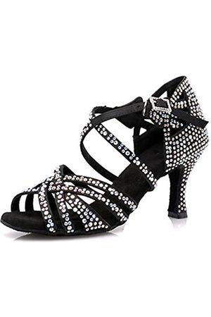 LOOGTSHON Damen Schuhe - Tanzschuhe für Damen, Satin, glänzend, Strass, weiche Unterseite, Lateinamerikanische Tanzschuhe, Salsa-Tanzschuhe, Absatz: 7,5 cm