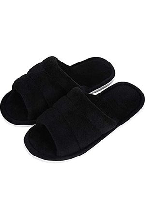 shevalues Unisex Terry Cloth Open Toe Slippers Memory Foam Silp On House Slippers, Black