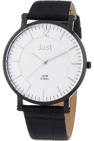 Just Watches Herren-Armbanduhr XL Analog Quarz Leder 48-S9295A-BK-SL