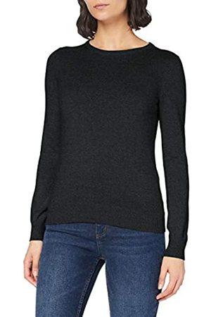 MERAKI Damen Strickpullover - Amazon-Marke: Baumwoll-Pullover Damen mit Rundhals, Grau (Charcoal), 42
