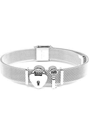 THIORA Damen Armbänder - ® - Simplicity Line   Mesh Armband Damen   Charmband Set   Individuelle Anhänger Charms für Frauen   Edelstahl   Rosegold Gold Bracelet (Unlocked Love - )
