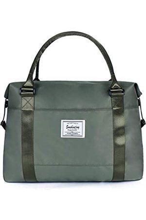 Sunshinejing Unisex große Reisetasche Schultertasche Wochenender Übernachtung Handtasche Gym Tote Bag mit Trolley-Tasche (Armeegrün)