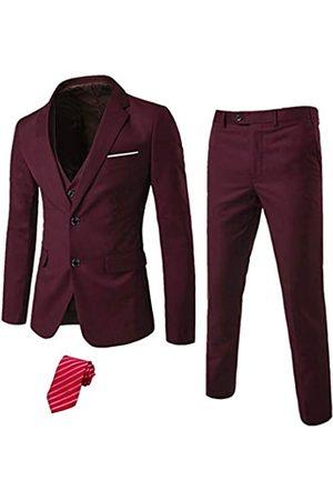 MY'S Herren 3 Stück Slim Fit Anzug Set 2 Knopf Blazer Jacke Weste Hose mit Krawatte Solide Hochzeitskleid Tux und Hose - Rot - S