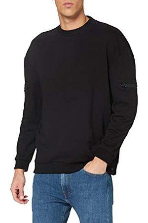 Urban classics Herren Training Terry Crew Sweatshirt, Black