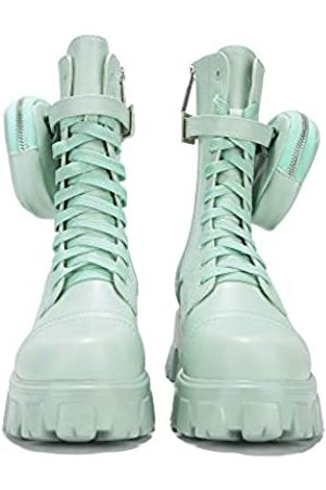 Cape Robbin Monalisa Combat Boots für Damen, Plateau-Stiefel mit klobigen Blockabsätzen, Damen High Tops Stiefel, Grün (graugrün)