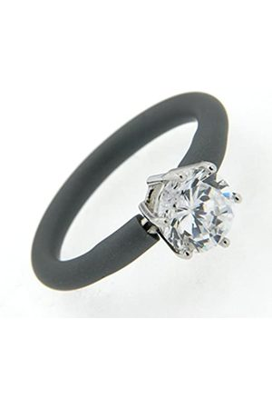 Renato Fellini Damen-Ring 925 Silber Kautschuk Zirkonia Brillantschliff weiß Gr. 66 (21.0) - HEJR-9835 türk 21