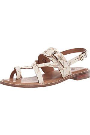 Patricia Nash Fidella Damen-Sandalen mit rundem Zehenbereich, mit Knöchelriemen, (Weißgoldene Haarwade)