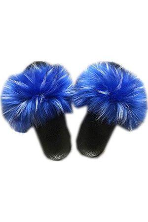 LSWJS Damen Vegane Kunstfell-Hausschuhe, flauschige Slides, offener Zehenbereich, innen und außen, (Blue-1)