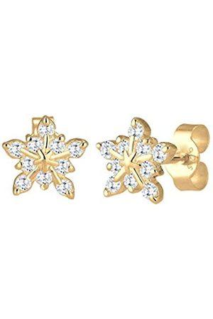 Elli Ohrringe Damen Schneeflocken Motiv Verspielt mit Zirkonia aus 925 Sterling Silber vergoldet