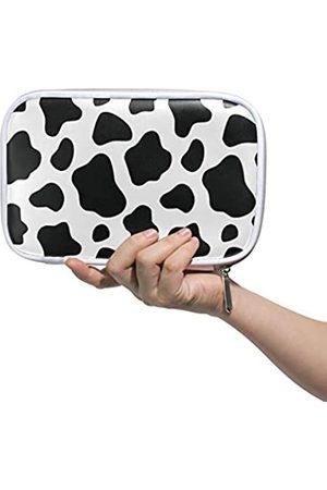 Bardic Stiftemäppchen schwarz weiß Kuh Druck Make-up Pinsel Tasche Reise Organizer Kosmetiktasche Reisepasshalter für Männer Frauen