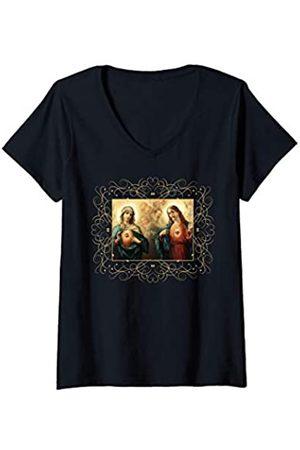 Happy Catholics Damen Herz-Jesu und Unbeflecktes Herz Bild Jesus und Maria T-Shirt mit V-Ausschnitt