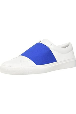 Via Spiga Damen Saran Slip ON Sneaker Turnschuh, Porzellan/Ocean Blue Leder