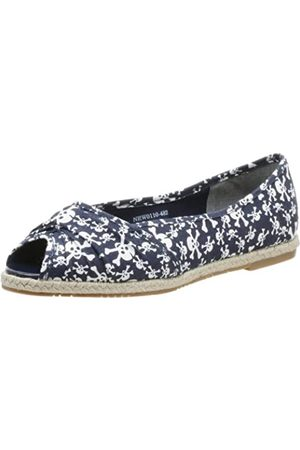 Not Rated Women's Miss Skully Open Toe Flat,Navy/White