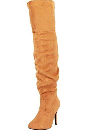 Cambridge Select Damen Slouch Overknee Stiletto High Heel Stiefel, (Tan Imsu)