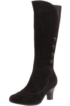 BeautiFeel Damen Overknees - Damen Anna Kniehohe Stiefel, (Schwarzes Wildleder/Patent-Kombination)