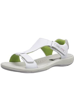 Manitu Damen Keilabsätze - Damen 910586 Offene Sandalen mit Keilabsatz, (Weiss)