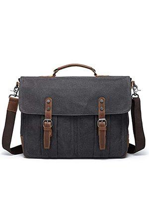 monhinty Herren Laptop- & Aktentaschen - Herren Aktentaschen, Kuriertasche, Vintage, Leder, gewachst, Leinen, wasserdicht, Schultertasche für 15,6 Zoll (39,6 cm)