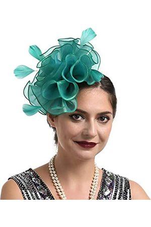 HNBQMX Fascinator Hut 20er Jahre Pillbox Hut Cocktail Tea Party Top Hat Derby Kentucky Hochzeit Kopfbedeckung für Mädchen und Frauen - Gr�n - Medium