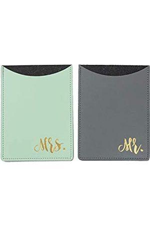 The Paisley Box Mr. & Mrs. Leather Passport Holder Set (Gray & Mint)