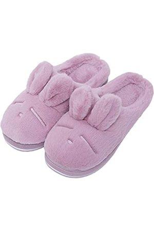 Asche Damen Weiche Memory Foam Hausschuhe Indoor & Outdoor Hausschuhe Flauschiges Kunstfell, (Pink / Lila)