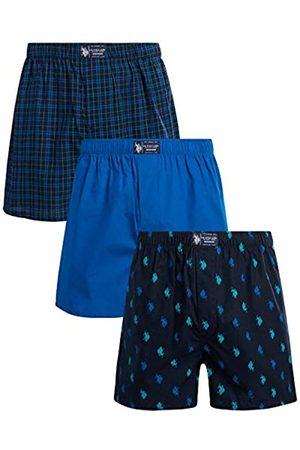 Ralph Lauren Herren Boxershorts - Men's Woven Boxer Underwear with Functional Fly (3 Pack), Size Medium