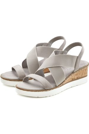 Lascana Damen Keilabsätze - Sandalette mit Keilabsatz und elastischen Riemen