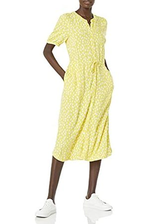 Amazon Feminine Half Sleeve Waisted Midi A-Line Dresses, Schöllkraut/ Blütenblätter