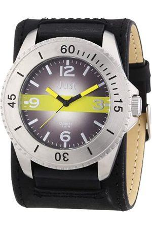 Just Watches Herren-Armbanduhr XL Analog Leder 48-S2812-BK-YL