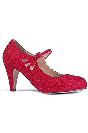 ZooShoo Damen Ballerinas - Mary Jane Pumps – Niedrige Kitten Heels – Vintage Retro Runde Zehen Schuh mit Knöchelriemen – Pixie von J. Adams, ( Glitter)