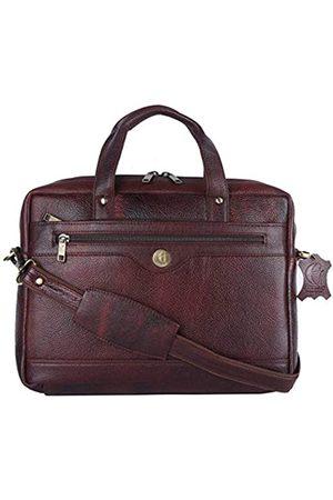 HiLeder Aktentasche aus echtem Leder für Damen und Herren, ländliche Handarbeit, Umhängetasche, Laptoptasche, passend für bis zu 35