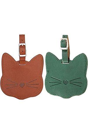 MLOLM Herren Laptop- & Aktentaschen - Gepäckanhänger, PU-Leder Gepäck Namensschild, prägnante Katze, Reisegepäck, Rucksack, Tags für Damen, Herren, Kinder