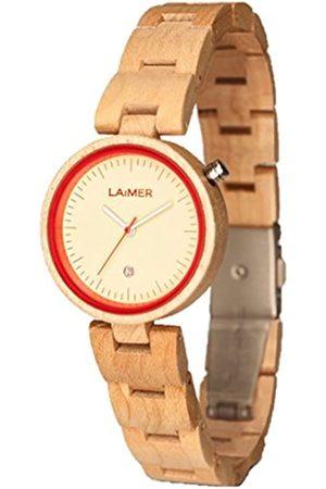 Laimer Damen Uhren - Damen-Armbanduhr NICKY BLAU Mod. 0055 aus Ahornholz - Analoge Quarzuhr mit hellem Holzarmband