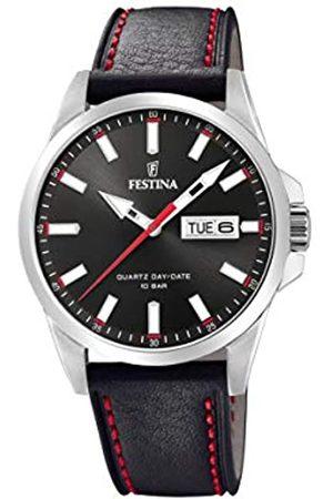 Festina Herren Analog Quarz Uhr mit Leder Armband F20358/4