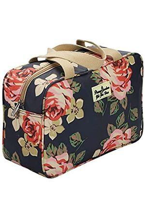 AUTUN Damen Koffer - Dunkelblaue Rose Kulturtasche für Damen Kulturtasche Kosmetiktasche Multifunktionale Kosmetiktaschen für Frauen Kleine Kosmetiktasche Make Up Taschen Make-up Pinsel Taschen Toiletry Aufbewahrungstasche