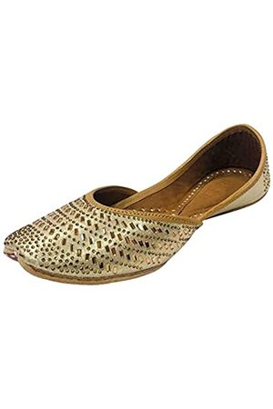 Step N Style Damen Sandalen - Goldene Swarovski Punjabi Jutti ethnische Mojari handgefertigt Rajasthani Jooti