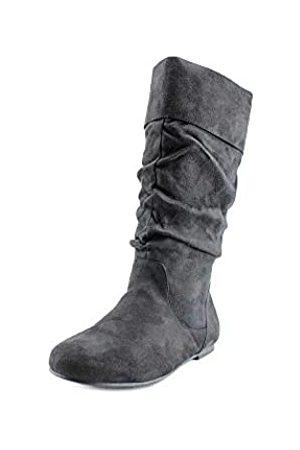 Journee Collection Damen Winterstiefel - Damen-Stiefel aus Microveloursleder, normale Größe und breite Wadenlänge, knöchelhoch, Schlupfstiefel
