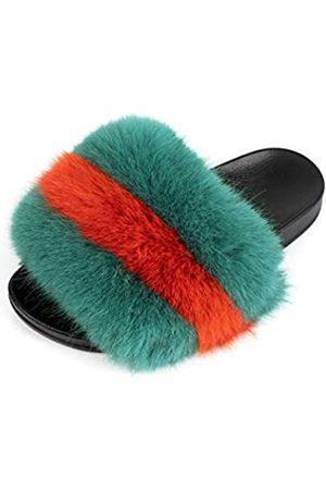 FUNKYMONKEY Damen Sandalen - Damen Slides Faux Pelz Süße Flauschige Hausschuhe Komfort Flache Sandalen, (Dm-ps/ / .)