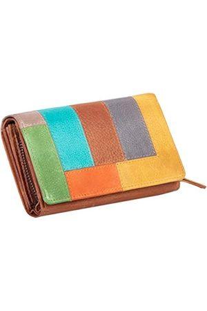 Mika Damen Slips - 42181 - Damengeldbörse aus Echt Leder, Portemonnaie im Querformat, Geldbeutel mit 12 Kartenfächer, Scheinfach und Münzfach mit Reißverschluss, Brieftasche in bunt -, ca. 15