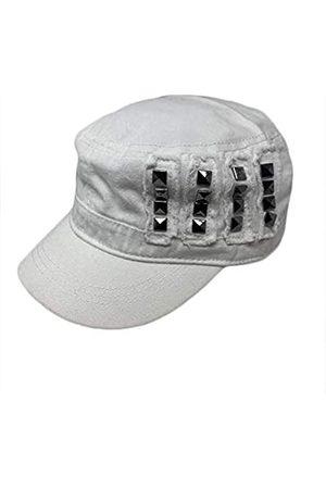 The Hatter Trendige Baumwolle Army Military Cap mit Nieten Bedruckter Patch mit Gummizug hinten Hut - Weiß - Einheitsgröße
