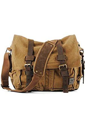 Sechunk Herren Laptop- & Aktentaschen - Vintage Military Leather Canvas Laptop Bag Messenger Bags Medium