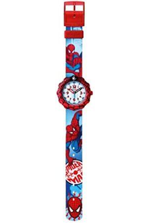 Flik Flak Watches Jungen-Armbanduhr Funny Hours Spider Man Prescool Analog Quarz Textil FLS036
