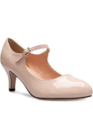 Olivia K Damenschuhe, klassische, niedrige mittlere Absätze Mary Jane Pumps - bezaubernde Runde Spitze Vintage Retro Schuhe, (Hautfarben - Nude Patent)