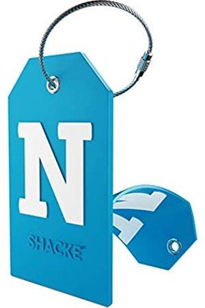 Shacke Gepäckanhänger Initial mit Sichtschutz und Edelstahlschlaufe (Aquamarinblau) (N)