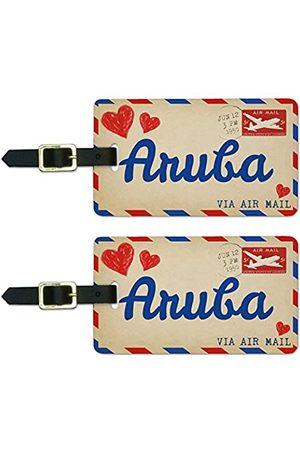 Graphics and More Reisetaschen - Graphics & More Luftpostkarte Love for Aruba Gepäck Koffer Handgepäck ID-Tags (Weiß) - Luggage.Tags.50318