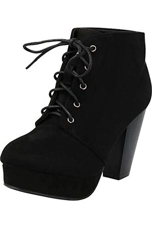 FOREVER Camille-86 Damen Comfort Stacked Chunky Heel Lace Up Stiefeletten