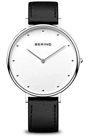 Bering Uhren - Unisex Analog Quarz Classic Collection Armbanduhr mit Kalbsleder Armband und Saphirglas 14839-404