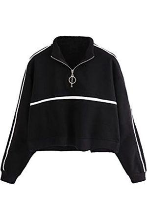 ROMWE Damen Sweatshirts - Damen Zip Front High Neck Tape Streifen Detail Crop Sweatshirt - - Small