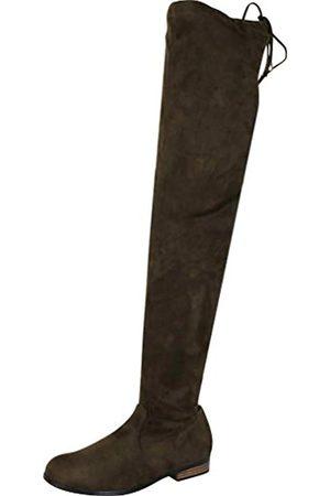 Cambridge Select Damen Stiefel mit Kordelzug, kniehoch, niedriger Absatz, Gr�n (Khaki Imsu)